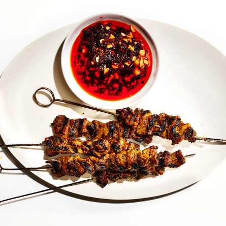 Coconut-Marinated Short Rib Kebabs with Peanut-ChileOil