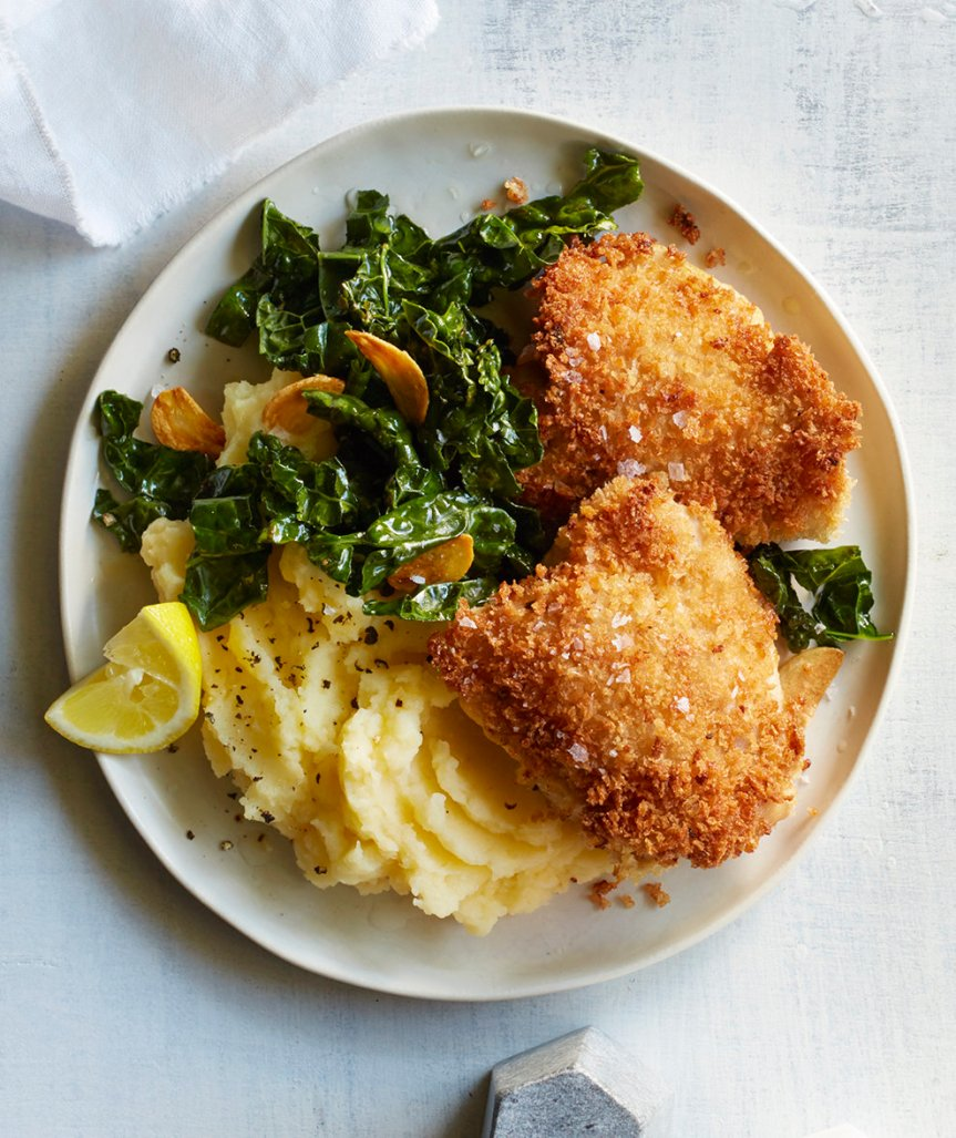 Crispy Chicken With Toasted Garlic Kale