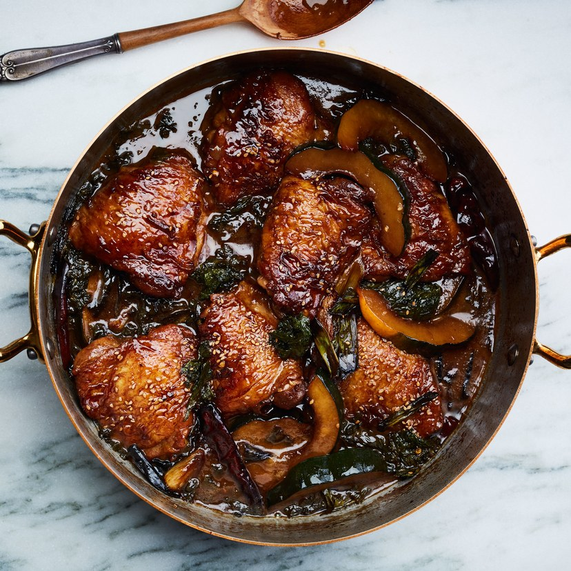Braised Chicken Thighs with Squash and Mustard Greens