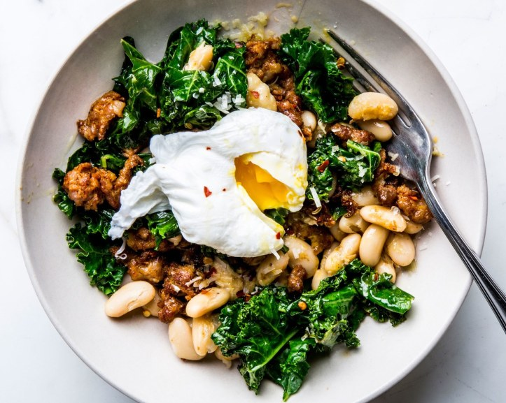 sausage-white-bean-kale-with-poached-egg-1