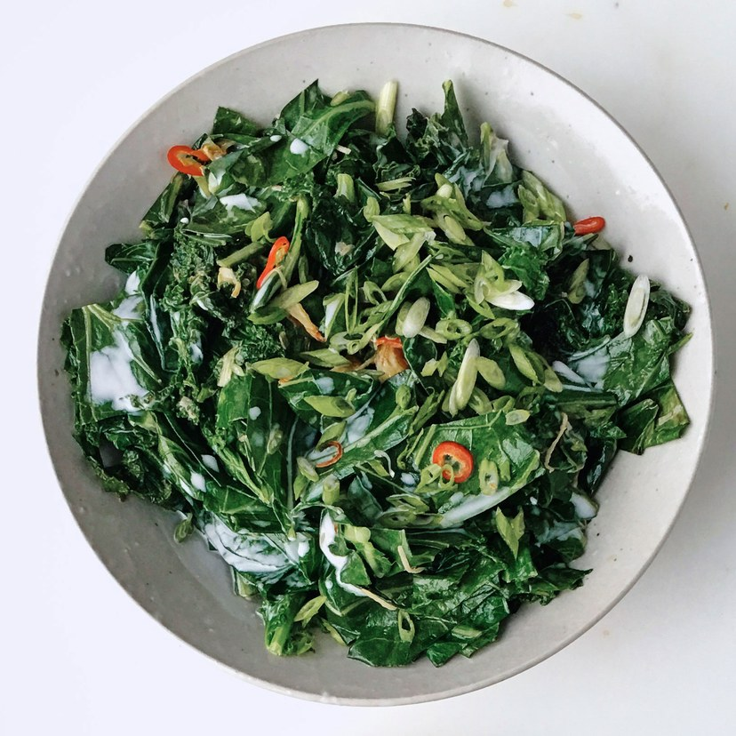 Aromatic Wilted Greens with CoconutMilk