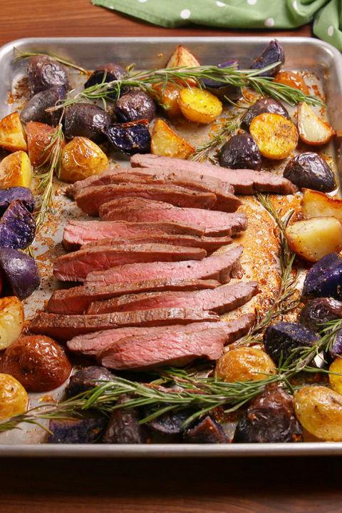 Sheet Pan Balsamic Steak &Potatoes