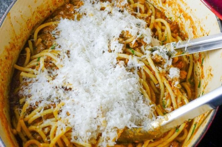 Chicken parmesan recipe food network kitchen food network my favorite pasta with this is most often bucatini hers is mostly fettuccini linguinesometimes penne or rigatoni heck who can have a favorite pasta forumfinder Choice Image